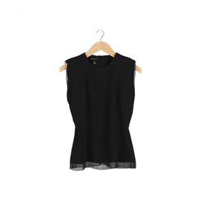 Black Plain Scoop neck Sleeveless Blouse