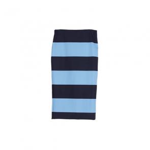 Blue Striped Slit Midi Skirt