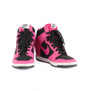 Nike Dunk Sky Hi Black and Pink Leather Wedge Sneakers