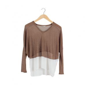 Brown and White Batwing Blouse