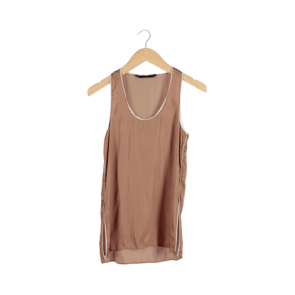 Brown Metallic Sleeveless Blouse