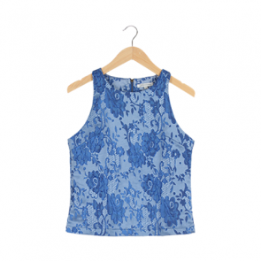 Blue Lace Pattern Sleeveless Blouse