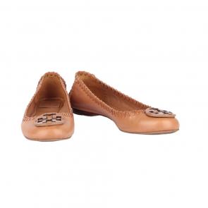 Tory Burch Royal Tan Gabi - Veg Brown Leather Flats