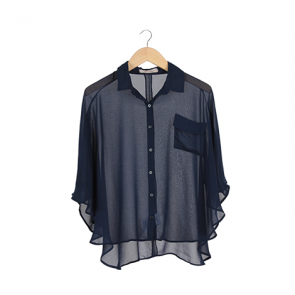 Navy Plain Batwing Shirt