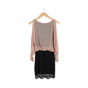 Black and Peach Lace Batwing Mini Dress