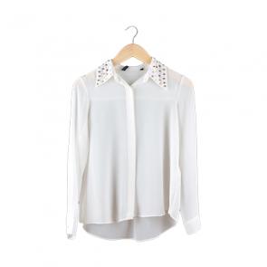 White Studded Collar Shirt