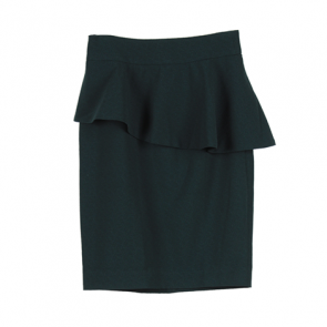 Green Plain Peplum Midi Skirt