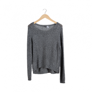 Silver Metallic Scoop Neck Sweater