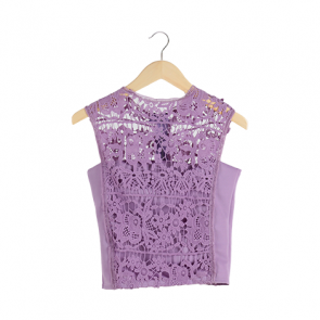 Purple Lace Sleeveless Blouse