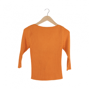 Orange Striped Sabrina Sweater