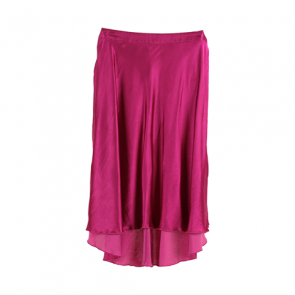 Pink Metallic Flared Midi Skirt