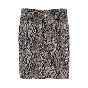 Multi Animal Print Straight Midi Skirt