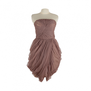 Brown Tulle Strapless Mini Dress