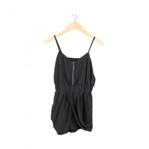Black Zipper Jumpsuit Shorts