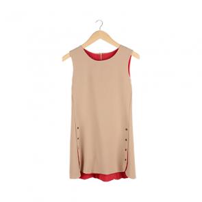 Brown Sleeveless Mini Dress