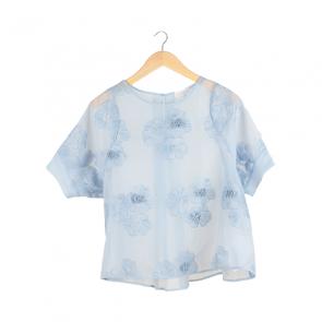 Blue Floral Silk Blouse