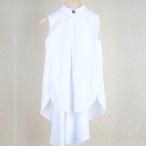 White Asymmetrical Sleeveless Shirt