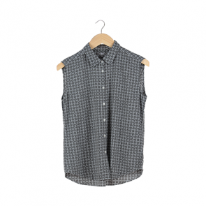Grey and White Plaid Sleeveless Shirt