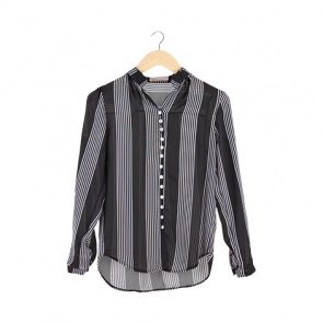 Black and White  Vertical Striped Shirt
