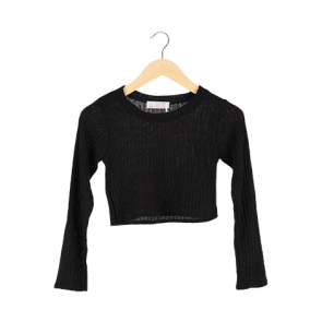 Black Knit Cropped Sweater