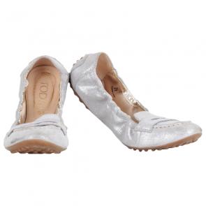 Tod's Silver Ballerina Dee Mocassino Flats