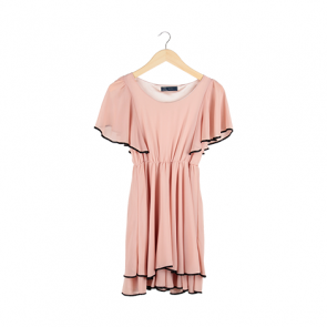 Dust Pink Butterfly Sleeve Midi Dress
