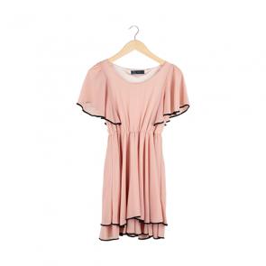 Dust Pink Butterfly Sleeve Midi Dress