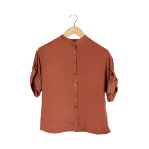 Brown Short Sleeve Blouse