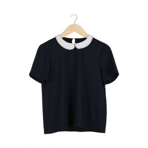 Navy Pearl Collar Blouse