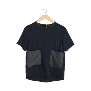 Navy Black Pocket Blouse