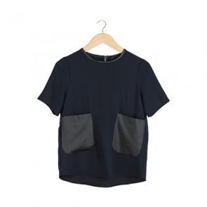 Navy Black Pocket Blouse