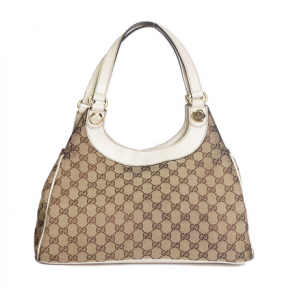 Gucci Light Brown Monogram Charmy Medium Canvas - Leather Shoulder Bag Off White