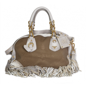 Prada Jacquard Choco Brown Canvas Bowler Bag with Fringed Strap