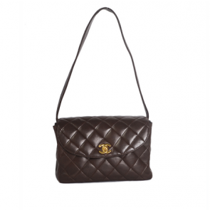Chanel Brown Vintage Caviar Leather Shoulder Bag