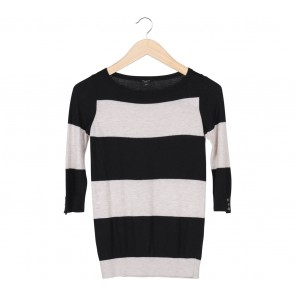 Ann Taylor Black And Grey Striped T-Shirt