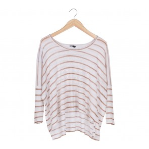 Club Monaco White And Brown Striped T-Shirt