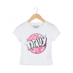 White Totally Graphic Cropped T-Shirt