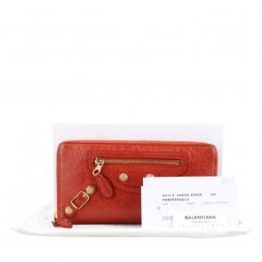 Balenciaga Orange Continental Zip Around Wallet