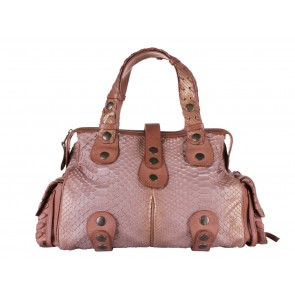 Chloe Brown Python Silverado with Glitter Accents Tote Bag