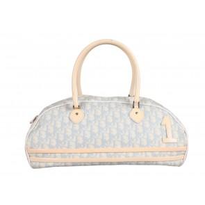Christian Dior White And Blue Monogram Duffle Shoulder Bag