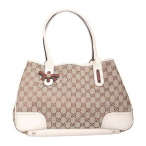Gucci Brown And Off White GG Mayfair Bow Tote Bag