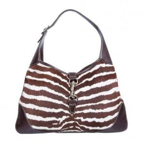 Gucci Brown And White Zebra Printed Jackie O Tote Bag
