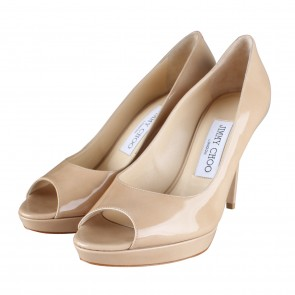 Jimmy Choo Crown Nude Patent Leather Peep Toe Pump Heels