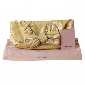 Miu Miu Brown Patent Bow Clutch