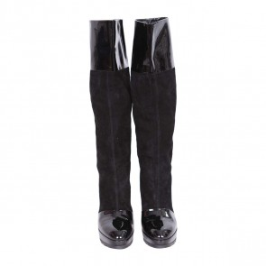 Walter Steiger Black Patent and Suede Combination Knee High Boots