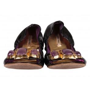 Miu Miu Purple Peep-Toe Ballet  Flats