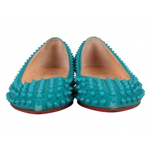 Christian Louboutin Turquoise Pigalle Spikes Flats