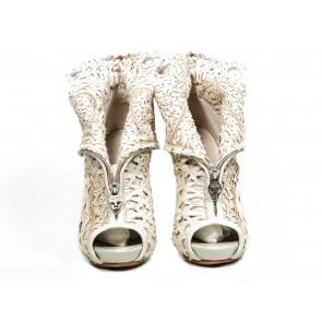 Alexander McQueen White Platform Booties
