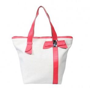 Salvatore Ferragamo Off White And Pink Ribbon Tote Bag