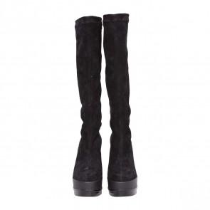 Roger Vivier Black Suede Wedge Boots
